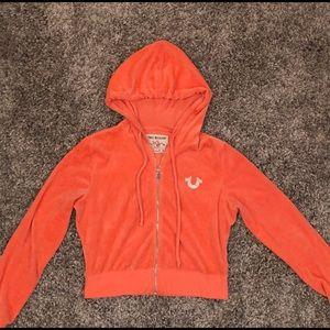 True Religion Orange Velour Sweater